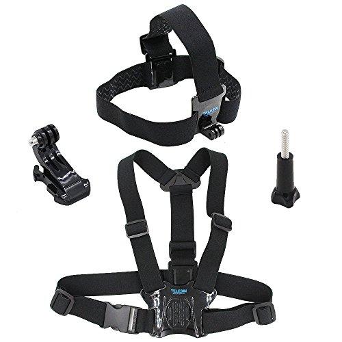 TELESIN Kopf Gurt Gürtel Mount + Brustgurt Gurtband Harness Halterung + Aluminium Daumenschraube + J-Haken für GoPro HD hero4Hero3+ Hero3Hero2SJ4000, sj5000Kameras verstellbarem Gürtel Mount (schwarz) -