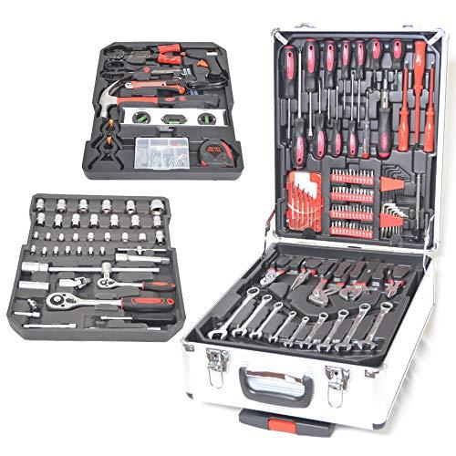 Set di attrezzi cassetta degli attrezzi da lavoro completa valigia in alluminio trolley kit porta attrezzi utensili tig mig