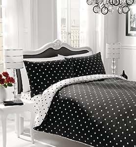 polka dot reversible duvet cover set single bed black white bedding kitchen home. Black Bedroom Furniture Sets. Home Design Ideas