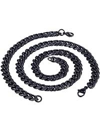 Trendsmax Moda para hombre Niños 9mm joyería tonos Negro cadena del encintado cubana conjunto de acero inoxidable collar de la pulsera de la joyería