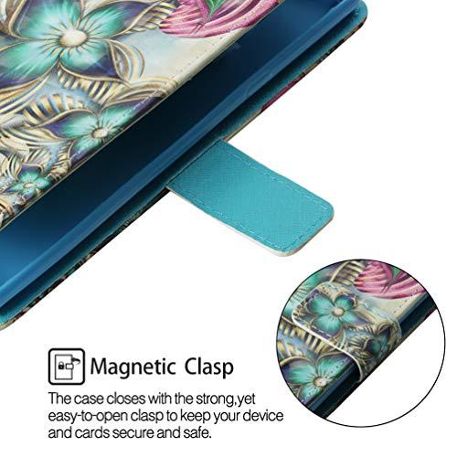 LaVibe Coque iPhone XR 6.1 Pouces, Housse en Cuir PU Leather à Rabat Emplacement pour Cartes Multiples Clapet 3D Design, UV Imprimer Appareil Photo Protection Cover –Fleur à Quatre