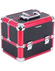 Songmics Beauty Case Mallette professionnelle pour maquillage et cosmétique six compartiments noir + rouge JBC314