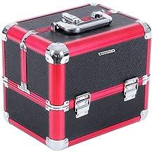 Songmics® Maletín para maquillajes XXL extensible portable Negro-rojo 6 bandejas JBC314