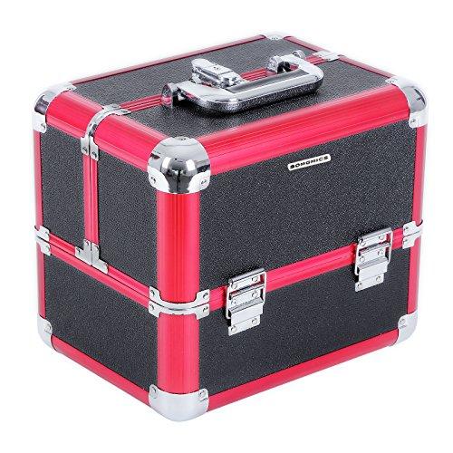 Songmics Maletín para maquillajes XXL extensible portable Negro-rojo 6 bandejas...