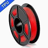SUNLU 3D Printer Filament TPU,TPU Filament 1.75 mm,Low Odor Dimensional Accuracy +/- 0.02 mm 3D Printing Filament,1.1LBS (0.5KG) Spool,Red TPU