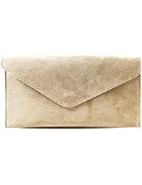 7221ec416186 Haute for Diva S Womens Ladies New Envelope Genuine Suede Leather Long  Chain Strap Wristlet Party Evening
