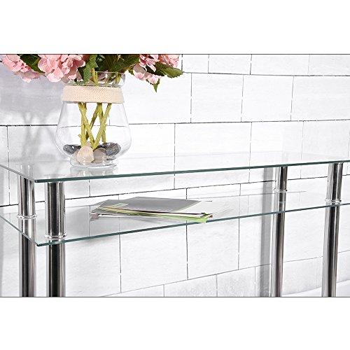 Panana Tavolo tipo consolle moderna stile francese, stretta e lunga,  finiture cromate e ripiani in vetro Clear