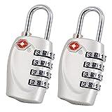 (2-Pack) TSA Approved 4 Dial Combination Passwort Sicherheit Vorhängeschloss Schlösser für Reisegepäck Koffer - 2 Farben (Silber)