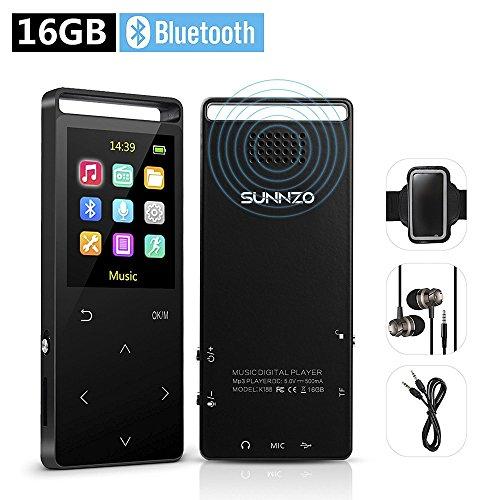 16Go lecteur MP3avec Haut-Parleur Bluetooth et radio FM HiFi 50heures de lecture Lossless Movie lecteur de musique pour la course à pied Sports lecteur MP3extensible jusqu'à 128Go