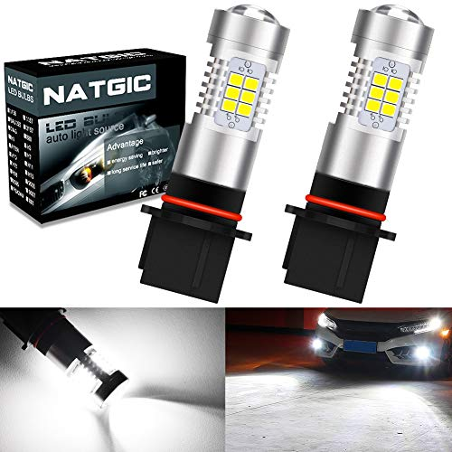 NATGIC P13W Ampoules d'antibrouillard à leds blanc xénon 2835 SMD avec projecteur de lentille pour feux de brouillard, feux diurnes, 10-16V 10,5W (paquet de 2)
