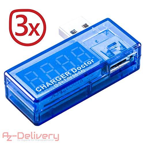 AZDelivery ⭐⭐⭐⭐⭐ 3 x USB Charger Doctor Multimeter Ladegerät Detektor Stromverbrauchsmesser Spannungsmesser Digitaler Voltmeter (3X Charger Doctor)