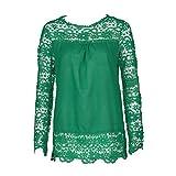 iYmitz Damen Langarm-Shirt Casual Spitze Bluse Lose Baumwolle Tops T-Shirt(Grün,EU-36/CN-M)