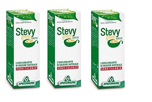 SPECCHIASOL - STEVY GREEN GOCCE 3 CONFEZIONI DA 30 ML zero calorie, dolcificante naturale, ottimo sa