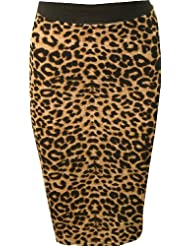 mymixtrendz - dames haut gaspillé crayon bureau strech jupe longue midi femmes veau (longueur UK 8-14 EU 36-42)
