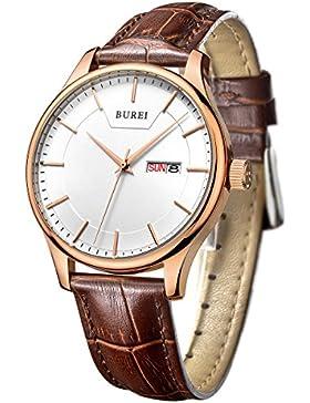 BUREI Klassische Tag Datum Herrenuhr mit Braun Leder Armbanduhr und Roségold Zeiger Geschenke für Männer