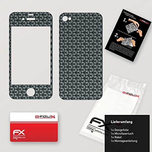 "Skin Apple iPhone 4 / 4s ""FX-Carbon-Black"" Sticker Autocollant FX-Honeycomb-Grey"