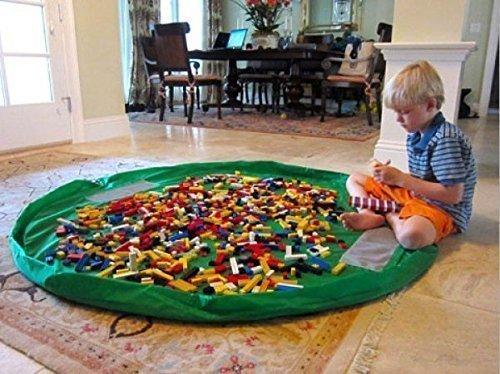 Time4Deals® Estera del juego y juguetes almacenamiento bolsa portátil de 60 pulgadas los niños organizan Picnic plegable Camping colchón bandolera (Verde)