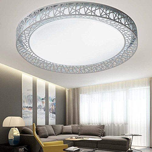 Deckenleuchte - einfache, moderne und kreative Bird\'s Nest, runde LED-Bügeleisen Deckenleuchten Master Schlafzimmer Arbeitszimmer Wohnzimmer Deckenleuchten (Größe, Farbe Optional) - Home Warme Decke lampe (Farbe: White-light-55 * 9 cm)