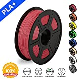 SUNLU 3D Printer Filament PLA Plus, 1.75mm PLA Filament, 3D Printing Filament Low Odor, Dimensional Accuracy +/- 0.02 mm, 2.2 LBS (1KG) Spool 3D Filament for 3D Printers & 3D Pens, Light Red PLA+