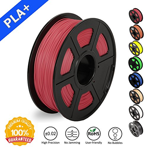 SUNLU 3D Printer Filament PLA Plus, 1.75mm PLA Filament, 3D Printing Filament Low Odor, Dimensional Accuracy +/- 0.02 mm, 2.2 LBS (1KG) Spool 3D Filament, Red PLA+