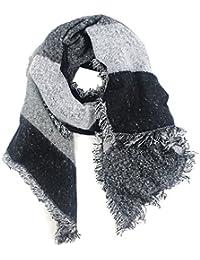 Wealsex Echarpe Grand Longue Echarpe Carreaux Foulard Châle Cape Plaid  Frange Vintage Automne Hiver Chaud Coton Mélangé Taille… 2f399740dc6