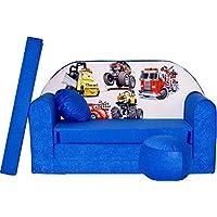 Preisvergleich für PRO COSMO C14Kinder Sofa Bett mit Puff/Fußbank/Kissen, Stoff, Blau, 168x 98x 60cm