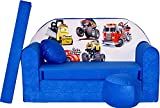PRO COSMO C14Kinder Sofa Bett mit Puff/Fußbank/Kissen, Stoff, Blau, 168x 98x 60cm