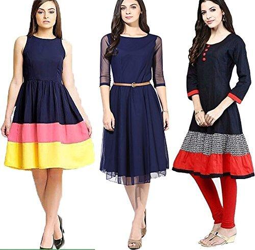 ANADI FASHION Women's Multicolor Western Wear Free Size Kurtis-Kurtas Combo Pack Of 3 (New Designer Western Dresses )