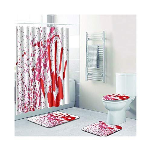 Knbob Badezimmer Teppich 4 Teilig Blutiger Handabdruck Stil 2 Badezimmerteppich Set 3 Teilig Für Hänge Wc 50X80Cm
