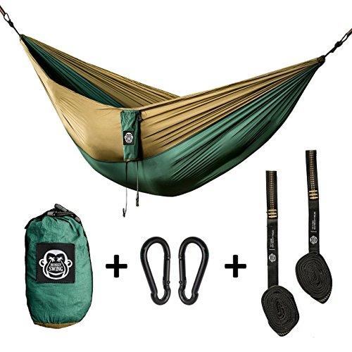 Monkey Swing Hängematte aus Fallschirm Nylon Ultra Light (275 x 140 cm, 180 kg Traglast) im Set mit Haltegut und Karabiner, Outdoor Trekking & Camping Hammock (Grün/Khaki)