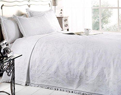 Emma Barclay New Mafalda Weiß Tagesdecke Portugiesisch Stil Sofa Bett Überwurf Mix Baumwolle, Weiß, Doppelbett by