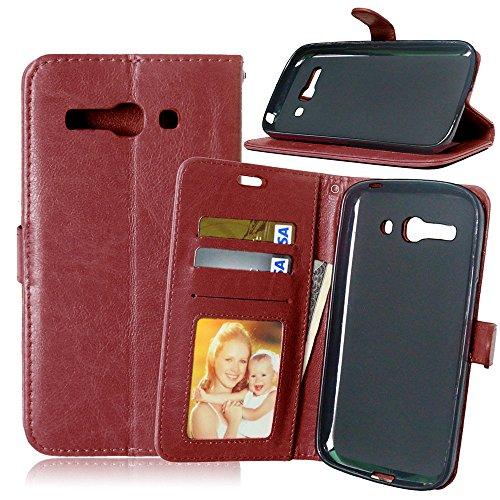 Nancen Compatible with Handyhülle Alcatel One Touch PoP C9 Lederhülle Style Acht Farbe Weich PU Flip Case Ledertasche/Schutz Etui, Karten Slot Foto Wallet Hülle