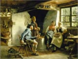 Posterlounge Leinwandbild 160 x 120 cm: Der galante Holzknecht. von Karl Emil Rau/ARTOTHEK - fertiges Wandbild, Bild auf Keilrahmen, Fertigbild auf echter Leinwand, Leinwanddruck