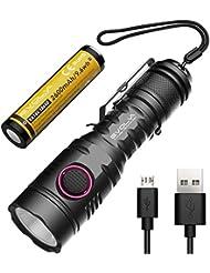 Evolva Future Technology Linterna Recargable USB Mini Bolsillo Antorcha E9 Little Monster (1 x E9 - Negro)