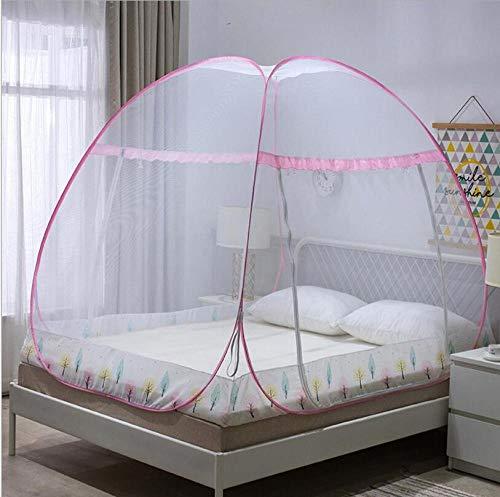 Mückennetz für Reise und Zuhause,Dome-Moskitonetz, kostenlose Installation, durchgehender Reißverschluss, Schutz vor Insekten @ pink_100 * 200