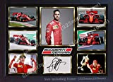 S&E DESING Sebastian Vettel Ferrari SIGNED Autograph Foto Poster Druck Gerahmt-32cm x 24cm