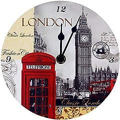 Idea Regalo - Lesser & Pavey London Tourist High Lights - Big Ben, Red Bus, Telephone Box -Wall Clock LP19987