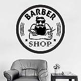zqyjhkou Friseur Wandtattoos Vinyl Friseur Zeichen Aufkleber Frisur Rasiert Mann Salon Haarschnitt d Gesicht Werkzeuge Logo Salon Aufkleber XL 84 cm x 84 cm