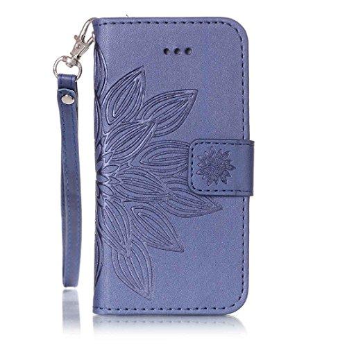 Tasche für Apple iPhone SE/ 5/ 5S Handy Flip Case Schutz Hülle mit Brieftasche mit Standfunktion Kartenfächer-Blaue Blume Blaue Blume