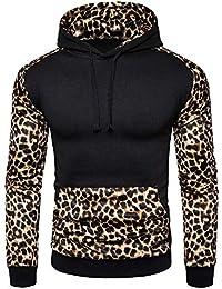 BURFLY Herren Langarm Leopard Patchwork Kapuzenpullover Winter Hoodie Outwear  Jacke Sweatshirt… 615fa8c455