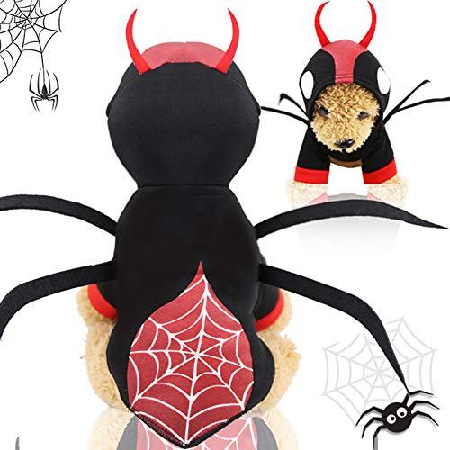 YETE Halloween Pet Dog Spider Kleidung, Fleece Kostümzubehör für kleine Hunde und - Spider Dog Kostüm Für Große Hunde
