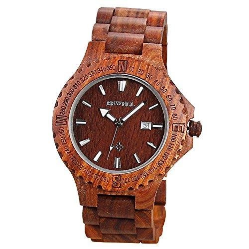 BEWELL uomo orologio automatico data Eco in legno naturale fatta a mano (stile A rosso)