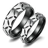Bague de Mariage en Acier Inoxydable pour Les Hommes Et Les Femmes Anneaux Bagues en Couple Noir Gravé Femmes 54 & Hommes 56.5