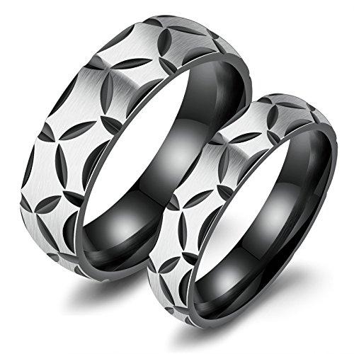 Daesar 1 Paar Männer Ringe Paar Freundschaftsringe Edelstahl Schwarz Ringe Herren Größe 62 (19.7) & 60 (19.1)