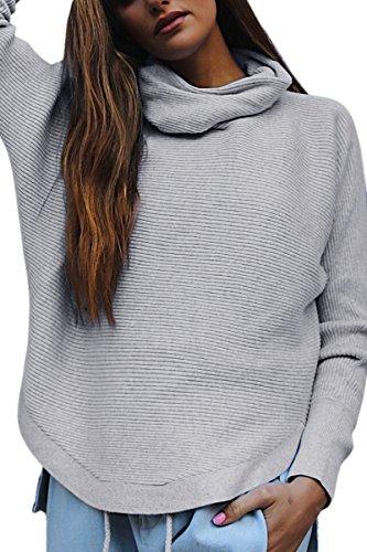 YMING Frauen Beiläufige Lose Pullover Gestricktes Hemd Strickwaren Langarm Rollkragen Pullover Freund Stil Tops, grau, XS (1/2-Ärmel-rollkragen)