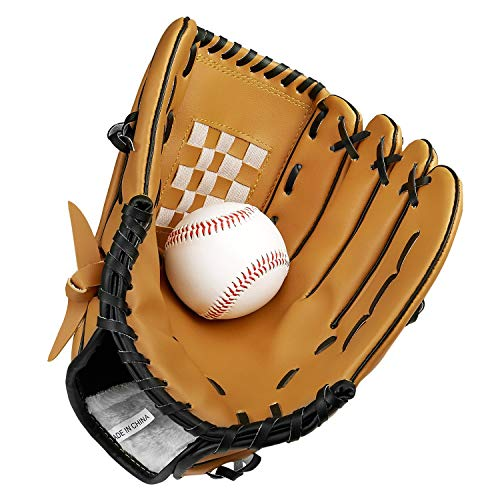 Baseball Handschuhe aus PU-Leder Baseball Glove Batting Handschuhe mit Einem Ball Softball Handschuhe für Kinder Erwachsene -