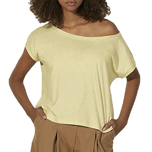 Oversize Damen T-Shirt aus 100% Bio-Baumwolle, weit geschnittenes Damen T-Shirt mit U-Ausschnitt, oversize Damen Shirt Light Heather Yellow