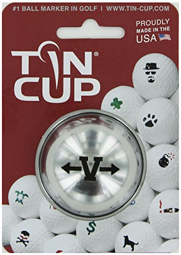 TIN CUP. GOLF BALL MARKER SYSTEM. ALPHA PLAYERS SERIES. LETTER V