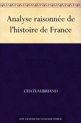 Couverture du livre Analyse raisonnée de l'histoire de France