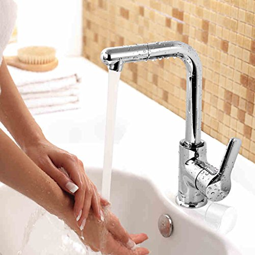 Bassin Robinet d'eau chaude et froide Robinet Bassin de lavabo peut être pivoté Placage